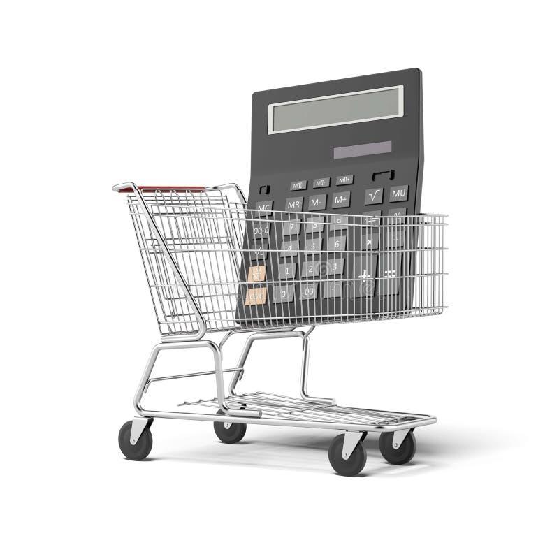 Räknemaskin och shoppingvagn vektor illustrationer