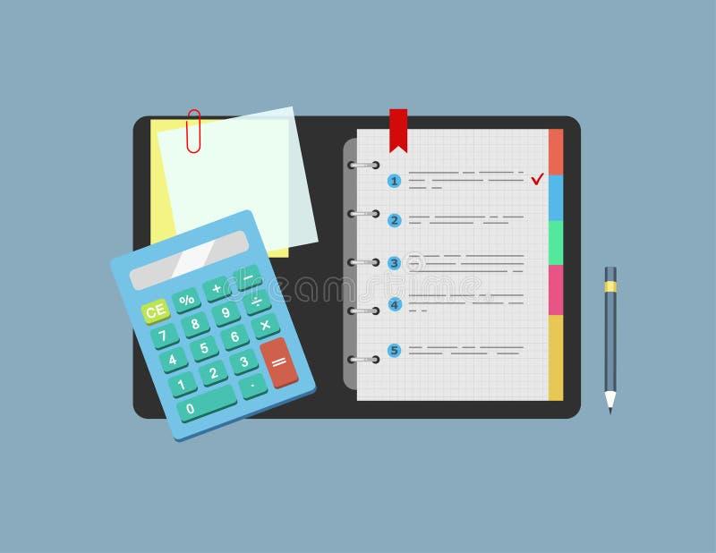 Räknemaskinen, notepaden, anmärkningspapper och blyertspennan ligger på tabellen Begrepp av planläggningen, analys också vektor f stock illustrationer