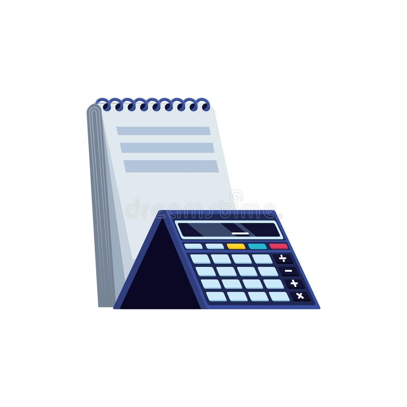 Räknemaskinmatematikfinans med notepaden stock illustrationer