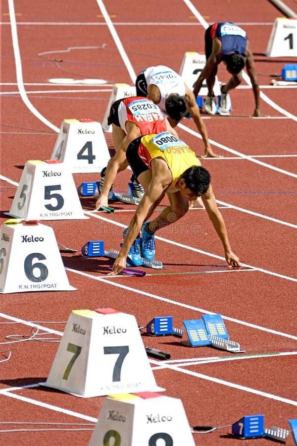 räkneverk för män 4x400 race s royaltyfria bilder