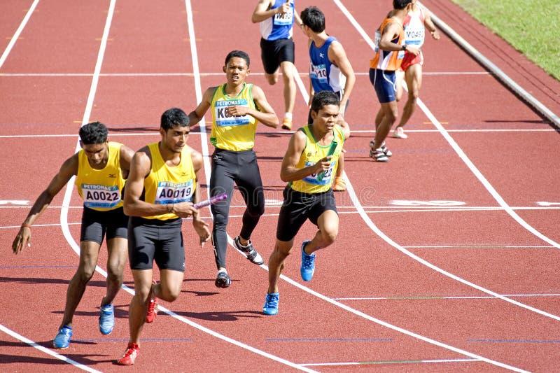 räkneverk för män 4x400 race s fotografering för bildbyråer