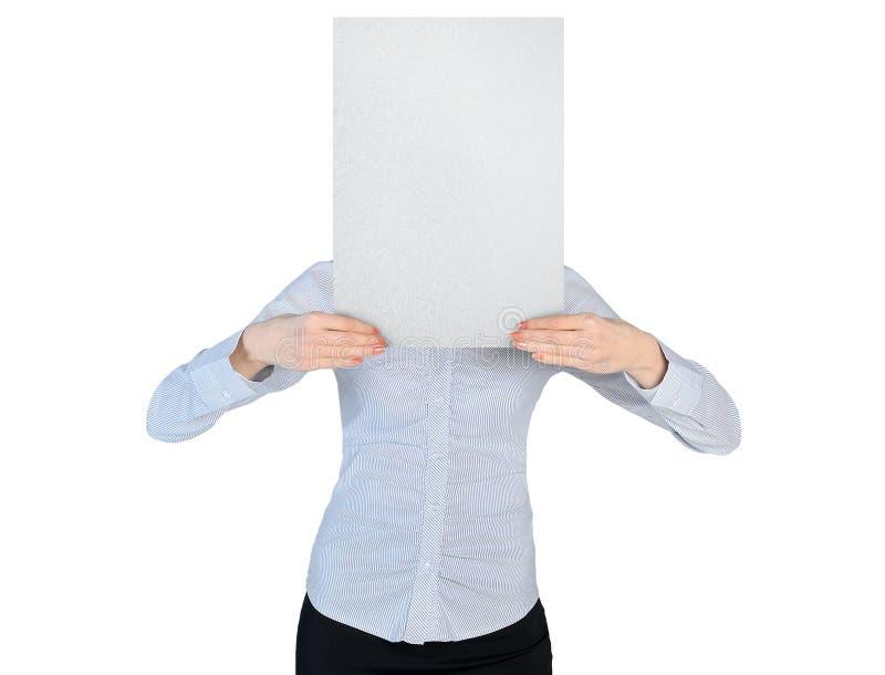 Räkning för affärskvinna med det tomma brädet arkivbild
