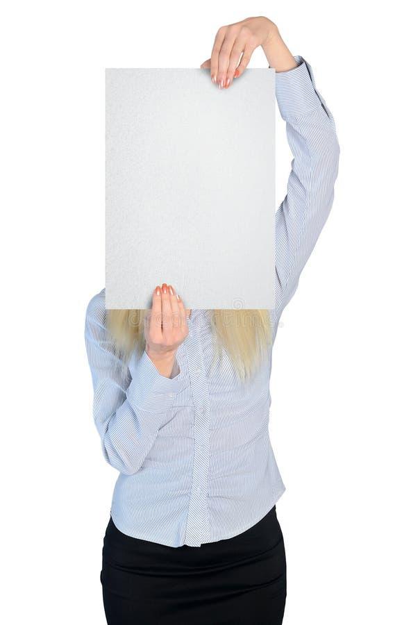 Räkning för affärskvinna med det tomma brädet arkivbilder