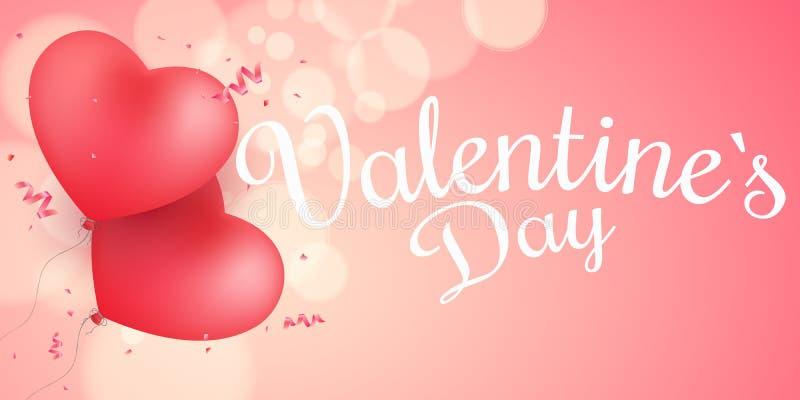 Räkning för dag för valentin` s Flyga ballonger från hjärtan med kalligrafi Abstrakt ljusbokeh på en rosa bakgrund romantiker vektor illustrationer