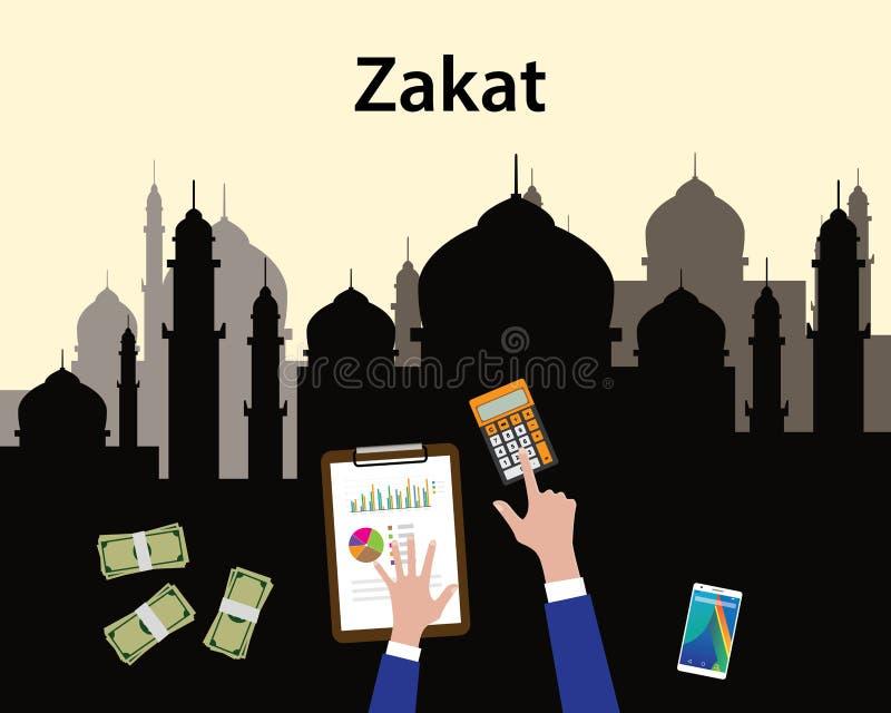 Räkning för islam för Zakat begreppsmoslem som räknar pengar med handsikt från överkant med moskén som bakgrund stock illustrationer