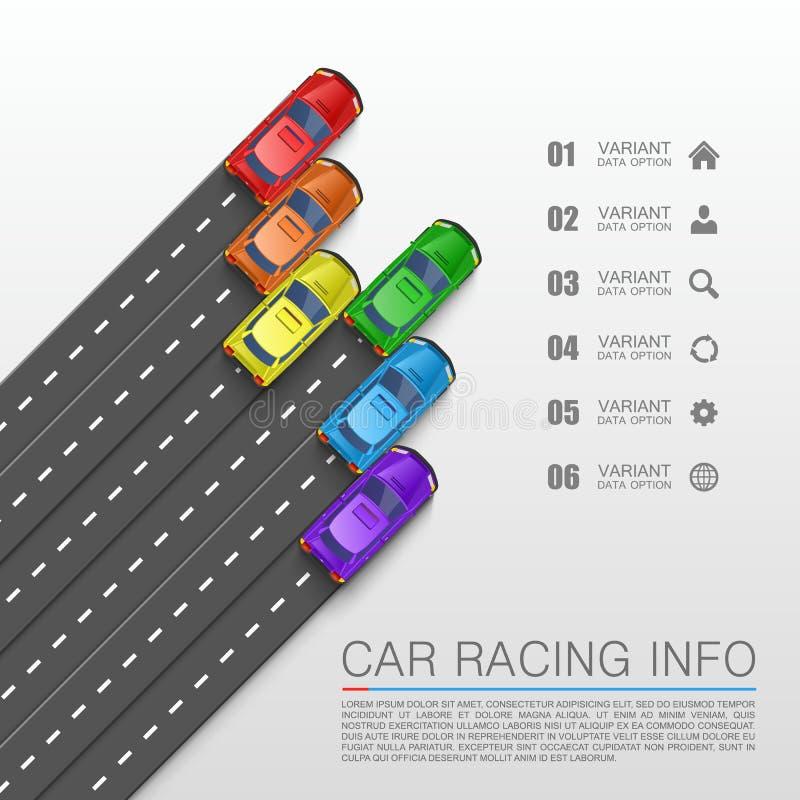 Räkning för konst för information om springa för bil royaltyfri illustrationer