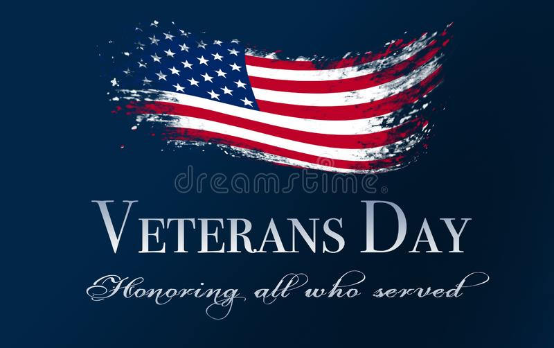 Räkning för veterandag, med flaggan royaltyfri fotografi