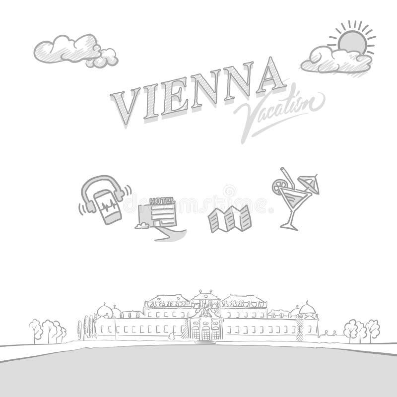 Räkning för Wien loppmarknadsföring stock illustrationer