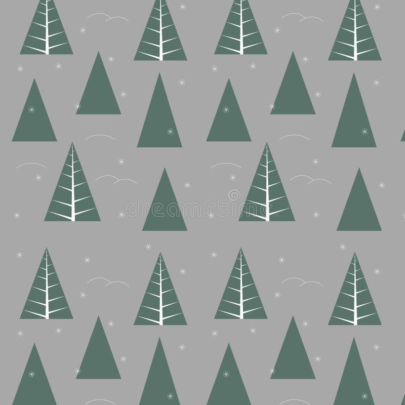 räkning fryst modellvektorvinter wood trees för snow för bakgrundsskognatur Jul texturer stock illustrationer