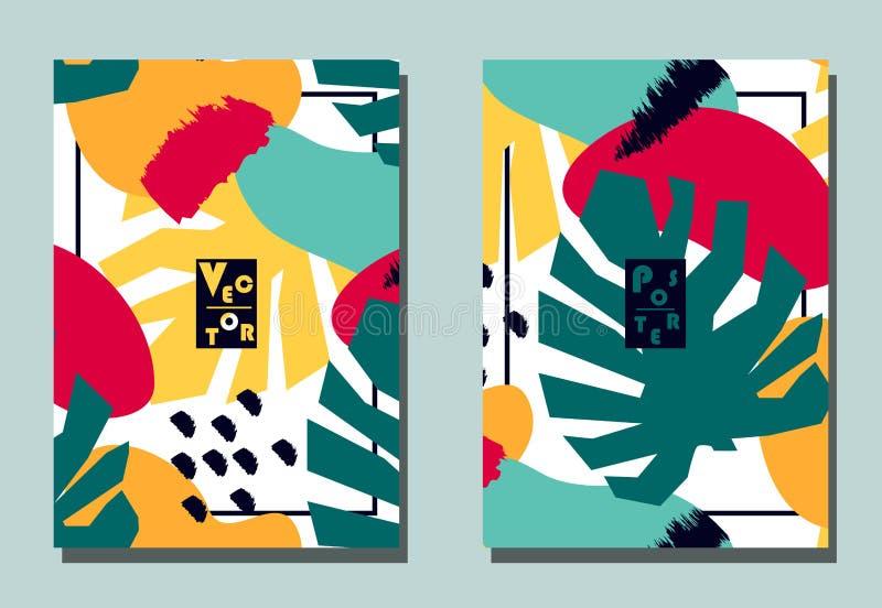 Räkning med grafiska beståndsdelar - abstrakta former och monsterasidor Två moderna vektorreklamblad i avantgardecollagestil stock illustrationer