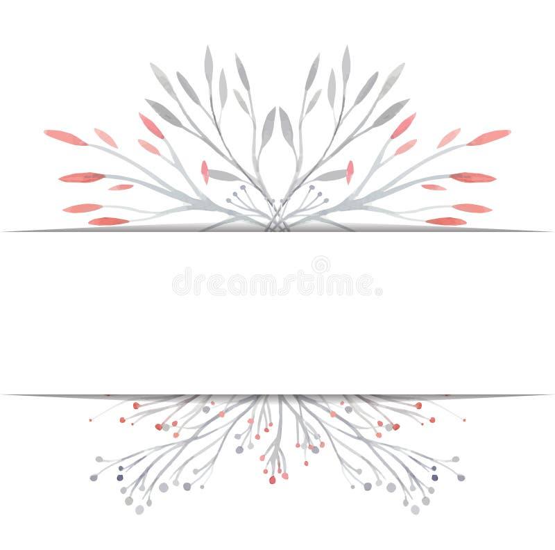 Räkning med vattenfärgvektorväxter stock illustrationer