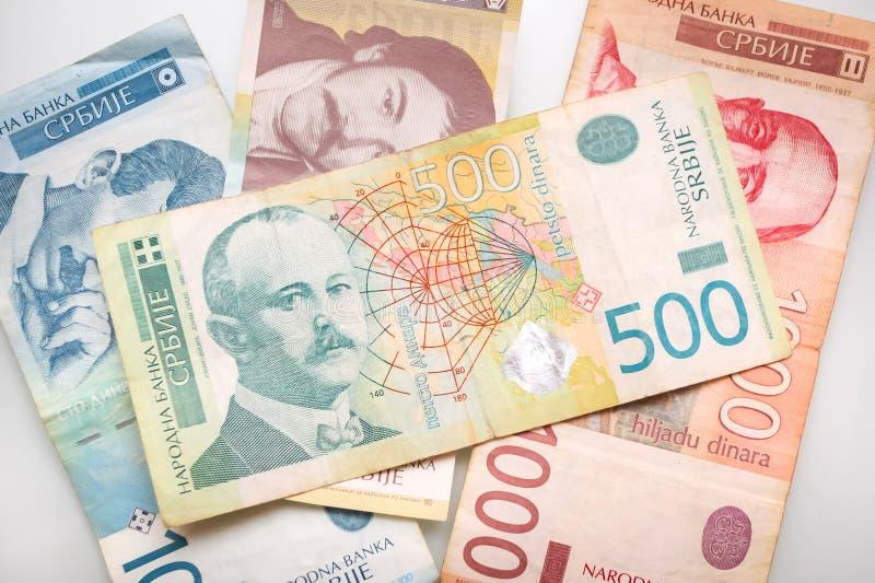 Räkningar av visade serbiska dinar royaltyfri bild
