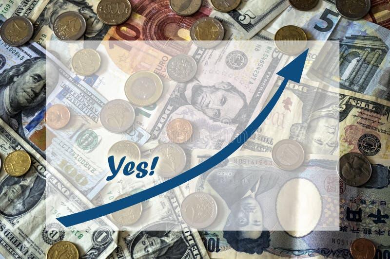 Räkningar och mynt av olik nationbakgrund med textboxen royaltyfri bild
