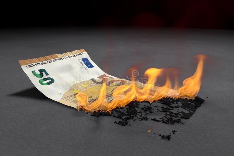 Räkningen för euro 50 bränner ljust vektor illustrationer