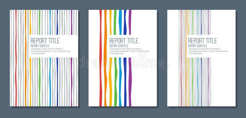 Räkningen för rapport med regnbågefärger buktade band royaltyfri illustrationer