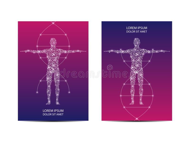 Räknings- eller affischdesign med vetenskaplig och teknologisk begreppet det människokropp, vektorillustration royaltyfri illustrationer