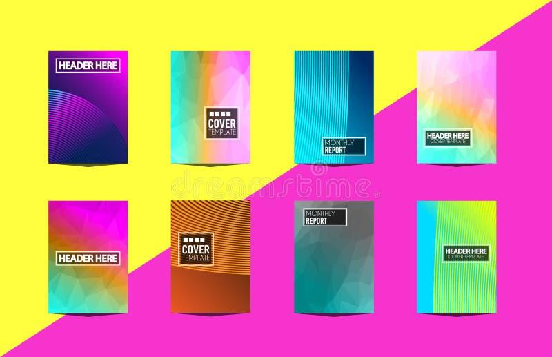 RäkningsMininal för broschyr A4 design med geometriska former, färgrika lutningar vektor illustrationer