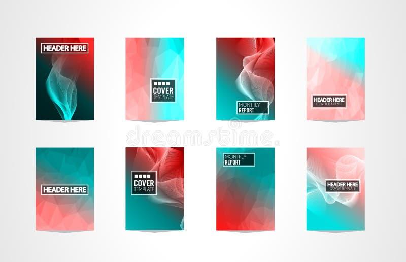 RäkningsMininal för broschyr A4 design med geometriska former, färgrika lutningar royaltyfri illustrationer