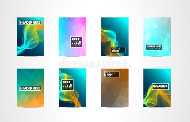 RäkningsMininal för broschyr A4 design med geometriska former, färgrika lutningar stock illustrationer