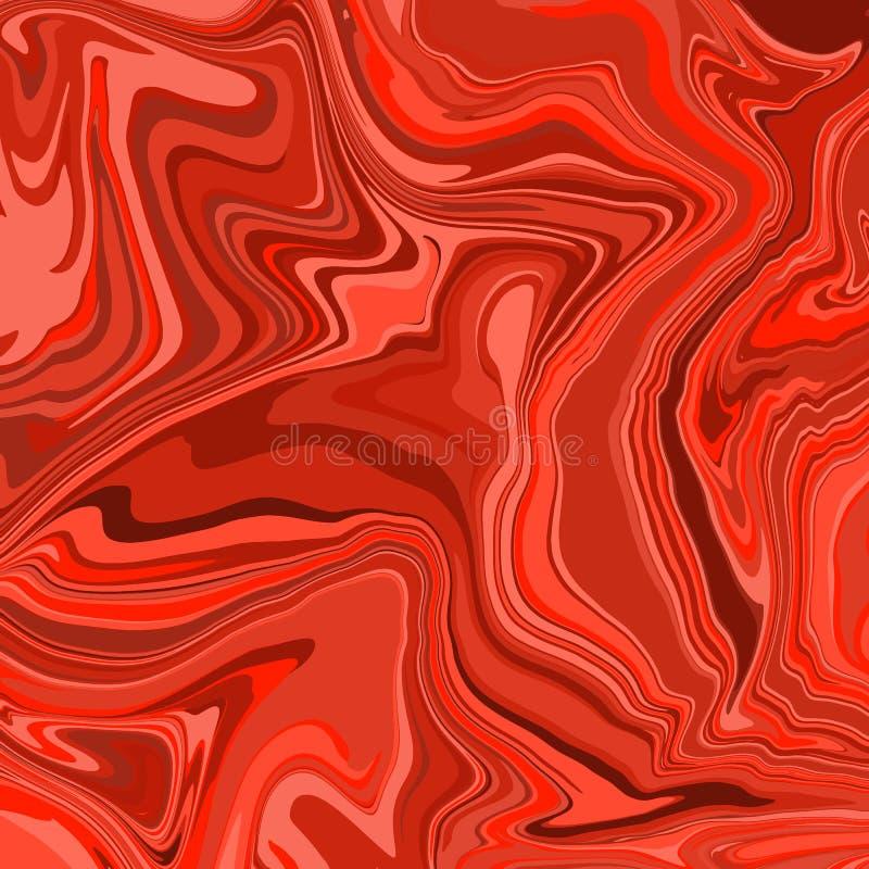 Räkningsorientering med flödande linjer bakgrund, kurvvågor, vriden geometrisk krullning Röd lutningillustration Glamourtidskrift vektor illustrationer