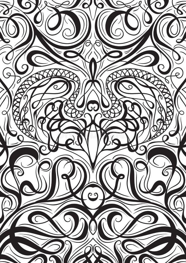 Räkningsprydnadmodell som spelar kort eller boken med calligraphic dekorativ beståndsdelbakgrund royaltyfri illustrationer