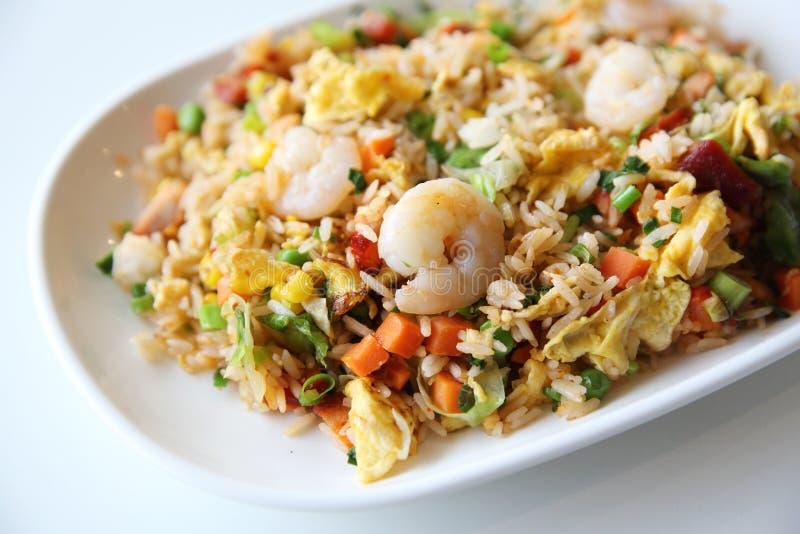Räkor stekte ris, kinesisk mat fotografering för bildbyråer