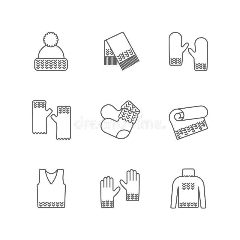 Rät maskavintern beklär symbolsuppsättningen Sticka kläder, fodrar stack prövkopior thin varm woolen saker Hatt halsduk, tumvante stock illustrationer