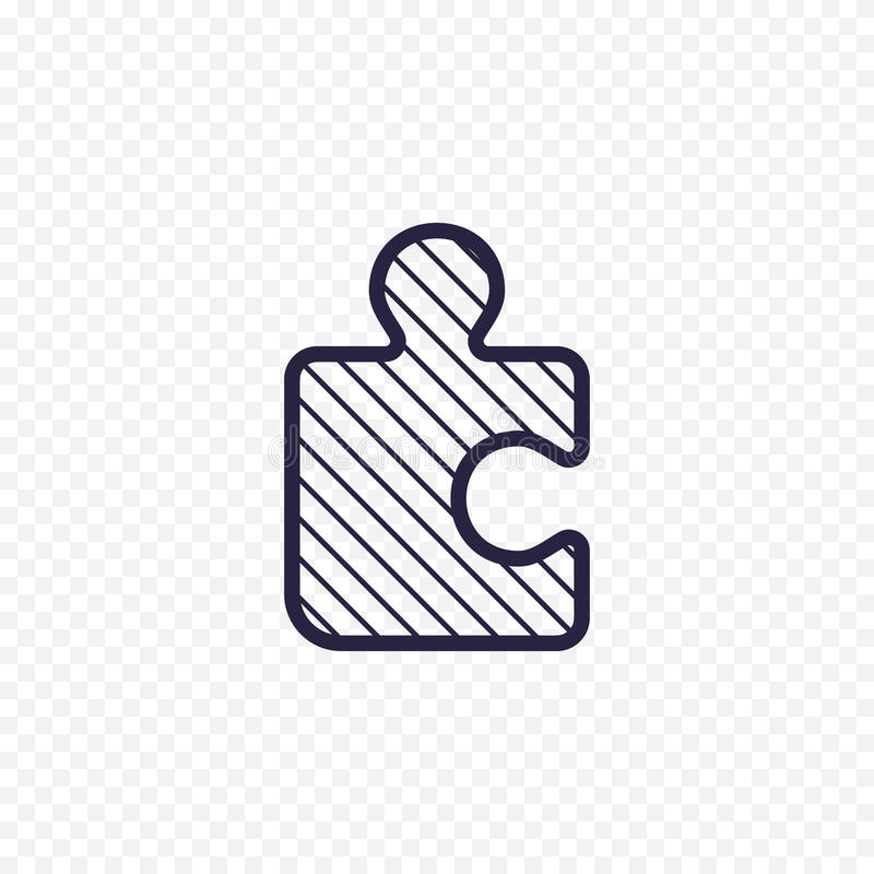 Rätselspiellinie Ikone Dünne lineare Zeichen des zackigen Stückes Umreißen Sie einfaches Konzept der Lösung für Website, infograp stock abbildung