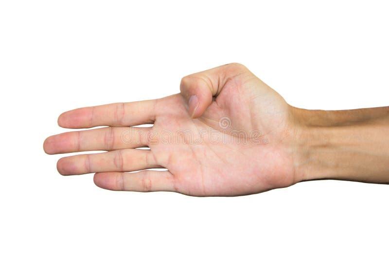 Rätten gömma i handflatan handen som isoleras på vit bakgrund Snabb bana den dåliga falska gesthanden betyder nr royaltyfri foto