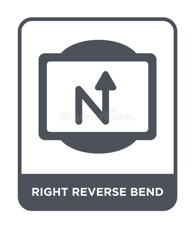 rätten vänder om krökningsymbolen i moderiktig designstil symbol för omvänd krökning för rätt som isoleras på vit bakgrund rätten vektor illustrationer