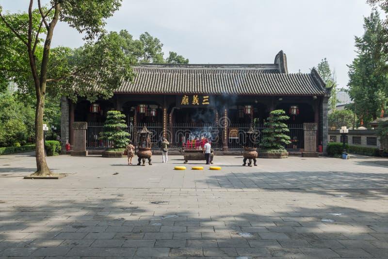 Rättfärdighet för tempel tre för Chengdu wuhoutempel arkivfoto