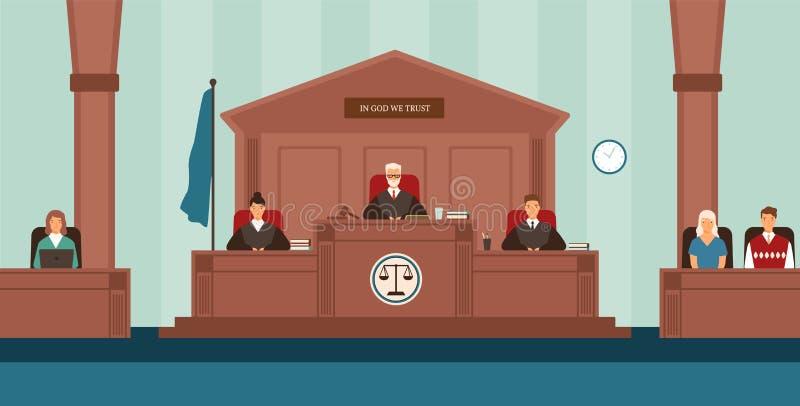 Rättssal med panelen av domare som sitter bak skrivbordet eller bänken, sekreterare, vittnar Domstol eller domstol som löser tvis stock illustrationer