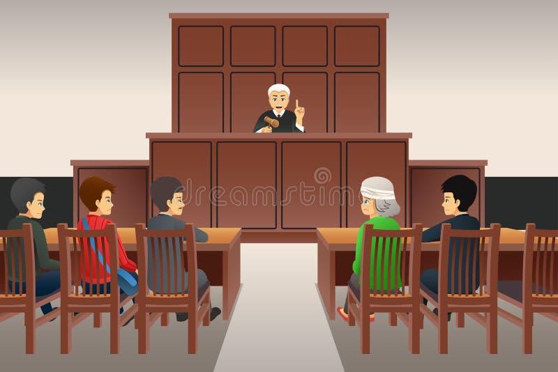 Rättssalplatsillustration stock illustrationer