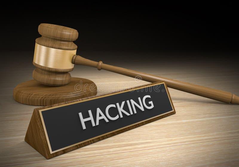 Rättsskipning och lagliga fall mot dataintrång- och cyberbrottet, tolkning 3D stock illustrationer