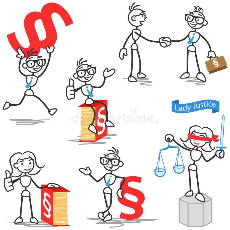 Rättvisa för Stickman avsnittadvokat vektor illustrationer