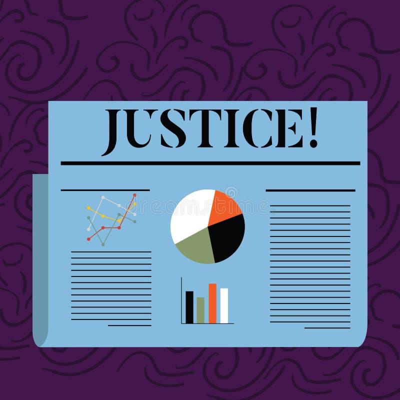 Rättvisa för textteckenvisning Begreppsmässig fotokvalitet av att vara precis opartisk eller ganska administration av färgrika la royaltyfri illustrationer