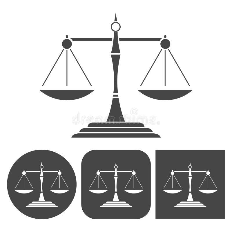 Rättvisa graderar konturn - vektorsymbolsuppsättning stock illustrationer