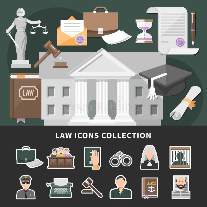 Rättvisa Icons Set Background vektor illustrationer