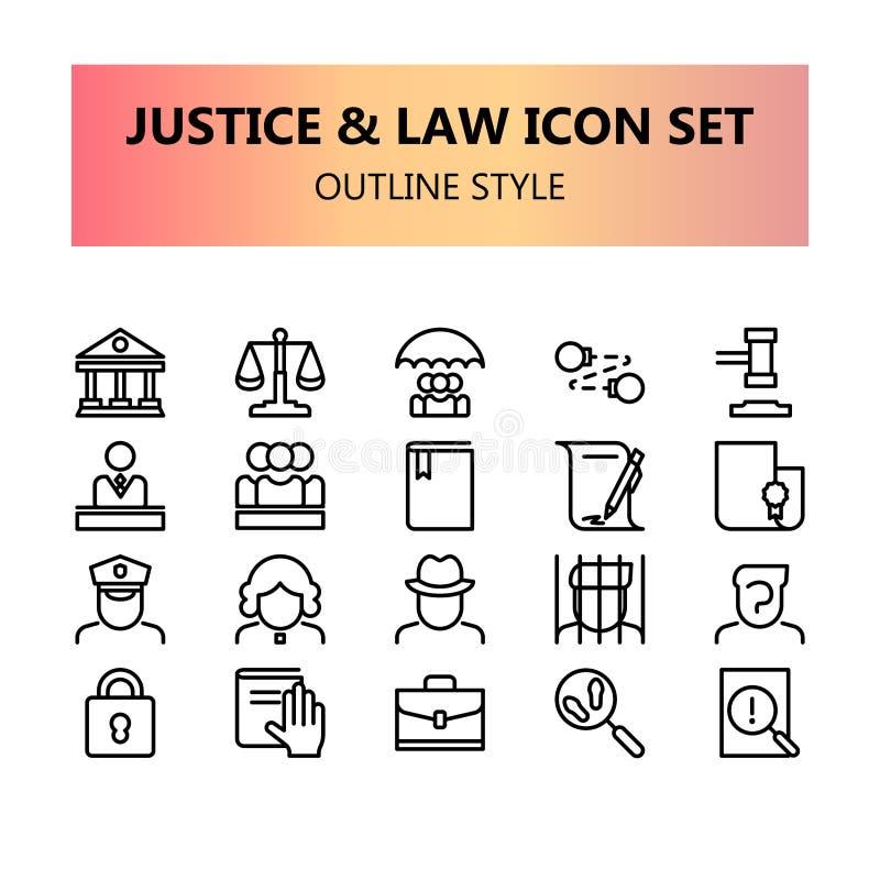Rättvisa, lag och perfekta symboler för lagligt PIXEL ställde in i översikt royaltyfri illustrationer