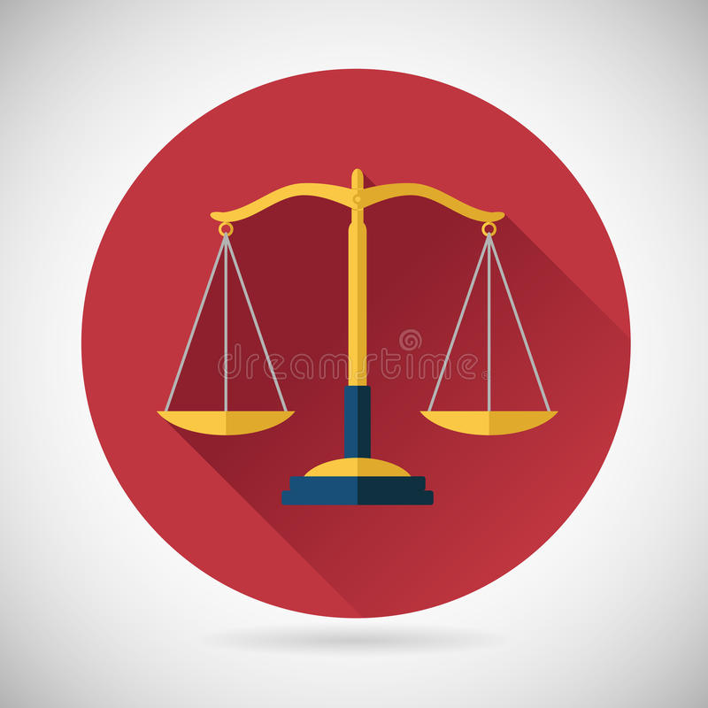 Rättvisa Scales Icon för lagjämviktssymbol på stilfullt stock illustrationer