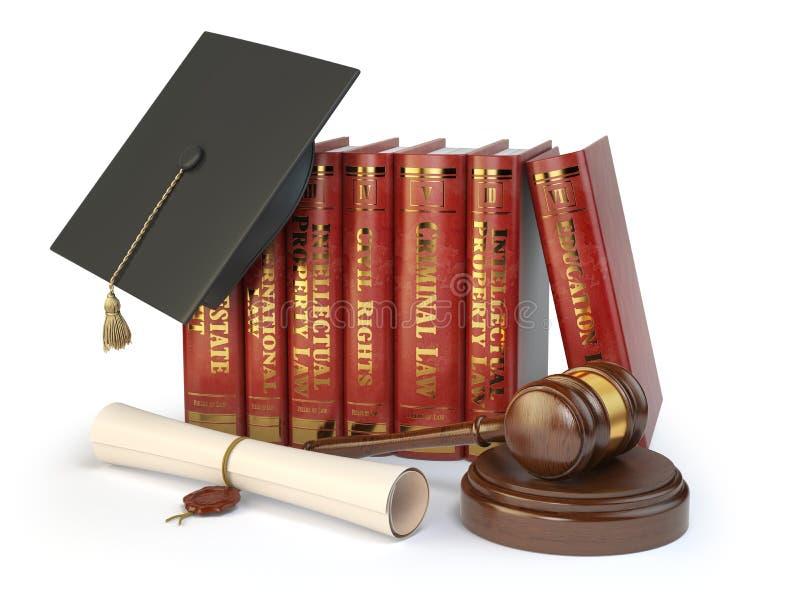 Rättvisa som lär olika fält av lagbegreppet Böcker gradua royaltyfri illustrationer