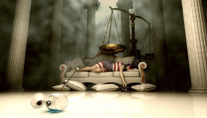 Rättvisa sovande stock illustrationer