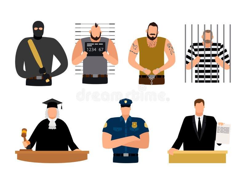 Rättvisafolk, fånge och svarande, polis, domare och advokat royaltyfri illustrationer