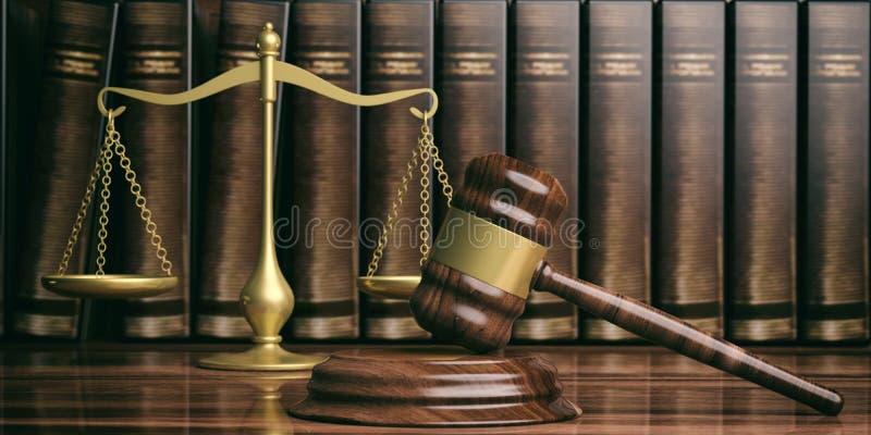 Rättvisaskala, auktionsklubba och lagböcker illustration 3d vektor illustrationer