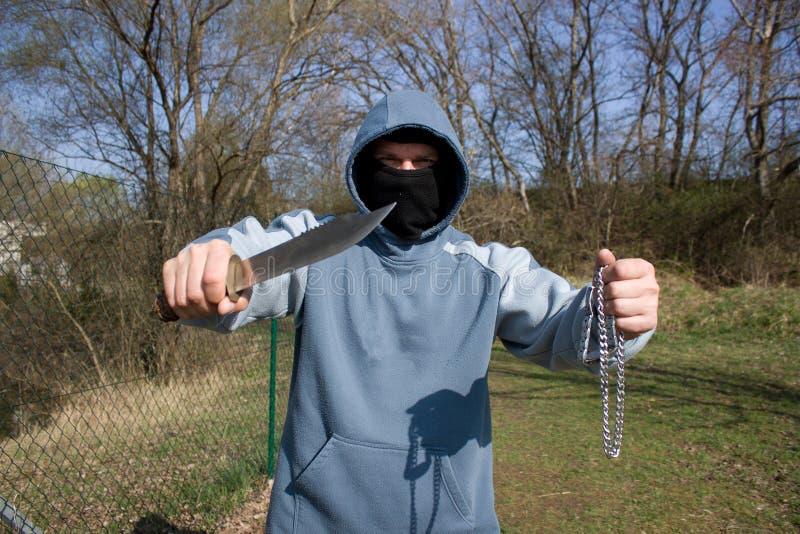Räuber Mit Einem Messer Stockfotografie