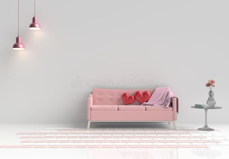 Räume der Liebe an Valentinsgruß ` s Tag Hintergrund und Innenraum rende 3D lizenzfreie stockfotografie
