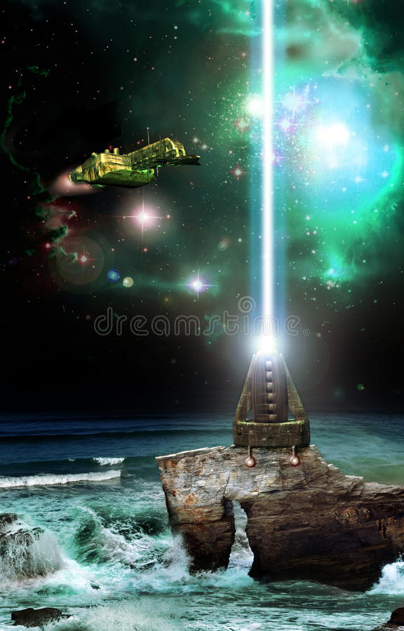 Räumlicher Leuchtturm stock abbildung
