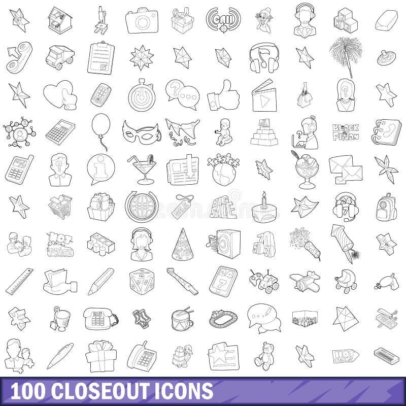 100 Räumungsartikelikonen eingestellt, Entwurfsart stock abbildung