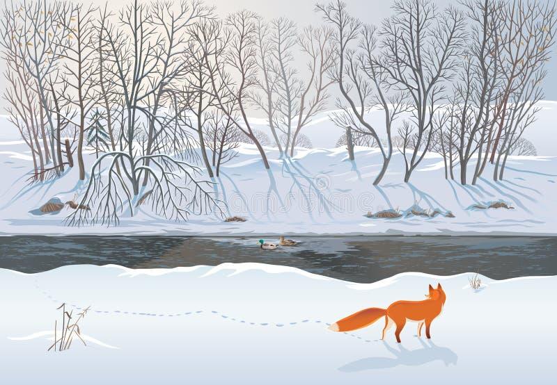 Räv i vinterskogen stock illustrationer