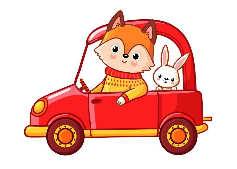 Räv med en hareritt på en röd bil vektor illustrationer